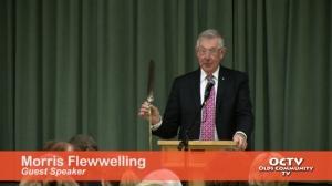 Morris Flewwelling speaking to Mayor's Prayer Breakfast in Olds